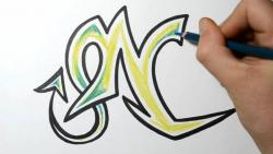 Как нарисовать английскую букву N в диком стиле видео урок