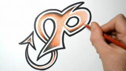 Как нарисовать английскую букву P в диком стиле видео урок