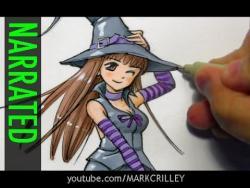 Как нарисовать аниме ведьмочку карандашом видео урок