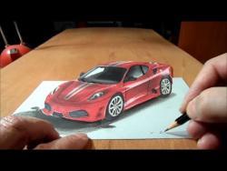 Как нарисовать автомобиль Феррари в 3Д видео урок