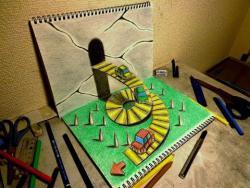 Как нарисовать автомобильную дорогу 3D видео урок