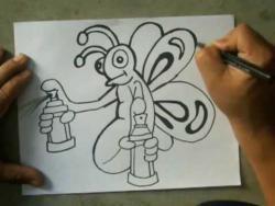 Как нарисовать бабочку с баллончиками в стиле граффити видео урок