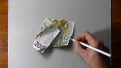 Как нарисовать банкноту номиналом 200 евро в 3D видео урок