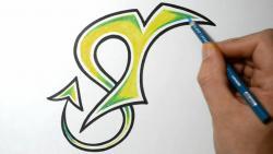Как нарисовать букву T в диком стиле видео урок