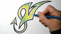 Как нарисовать букву V в диком стиле видео урок