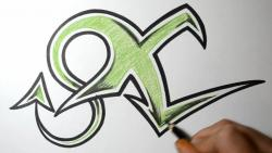 Как нарисовать букву X в диком стиле видео урок