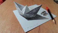 Как нарисовать бумажный кораблик в 3Д видео урок