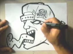 Как нарисовать человека с длинным языком в стиле граффити видео урок