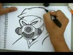 Как нарисовать человека в противогазе в стиле граффити видео урок