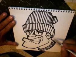 Как нарисовать человека в шапке в стиле граффити видео урок