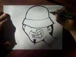 Как нарисовать человека в шляпе в  стиле граффити видео урок