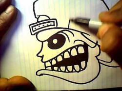 Как нарисовать череп в стиле граффити видео урок