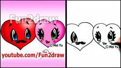 Как нарисовать два сердца в стиле Chibi видео урок