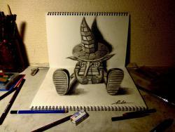 Как нарисовать фантастического странника в 3D видео урок