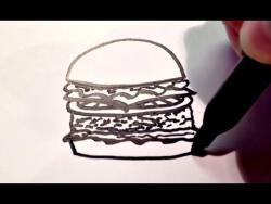Как нарисовать гамбургер ребенку видео урок