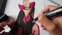 Как нарисовать Хидана из Наруто видео урок