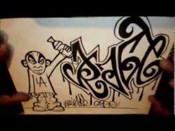 Как нарисовать имя Rage (Рэйдж) и человечка в стиле граффити видео урок