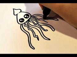 Как нарисовать кальмара ребенку видео урок
