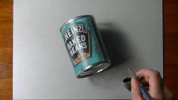 Как нарисовать консервную банку с бобовыми в 3D видео урок
