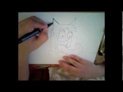 Как нарисовать кота с большими зубами и высунутым языком в стиле граффити видео урок