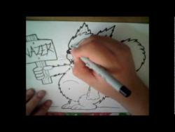 Как нарисовать кота в стиле графити видео урок