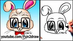 Как нарисовать кролика в очках в стиле Chibi видео урок