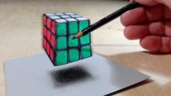 Как нарисовать кубик рубик в 3Д видео урок