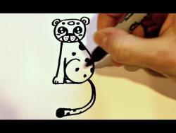 Как нарисовать леопарда ребенку видео урок