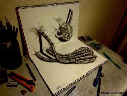 Как нарисовать лицо и механическую руку карандашом в 3D видео урок