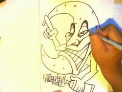 Как нарисовать луну в стиле граффити поэтапно видео урок