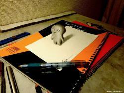 Как нарисовать маленькое 3D существа на бумаге видео урок