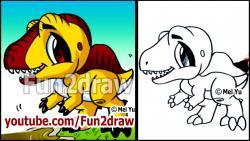 Как нарисовать маленького динозаврика в стиле чиби