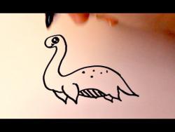 Как нарисовать маркером  динозавра Несси ребенку видео урок
