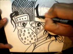 Как нарисовать маркером человека в маске и кепке в стиле граффити видео урок