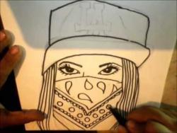 Как нарисовать маркером девушку в кепке и бандане на лице в стиле граффити видео урок