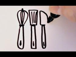 Как нарисовать маркером кухонные принадлеежности  ребенку видео урок