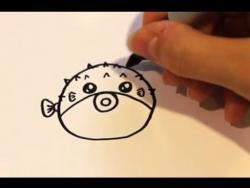 Как нарисовать маркером рыбу фугу ребенку видео урок