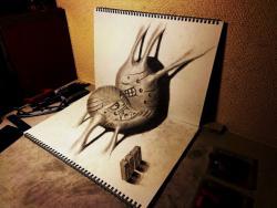 Как нарисовать мистическое сердце на бумаге в 3D видео урок