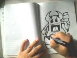 Как нарисовать монстра с рожками в стиле граффити видео урок