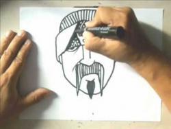 Как нарисовать мужчину с усами и бородкой в стиле граффити видео урок