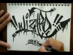 Как нарисовать на бумаге имя Wizard (Визард) в стиле граффити видео урок