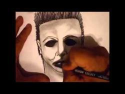 Как нарисовать на бумаге Майкла Майерса в стиле граффити