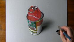 Как нарисовать открытую банку фасоли в 3D видео урок