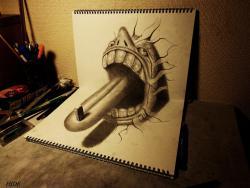 Как нарисовать открытый рот карандашом в 3D видео урок