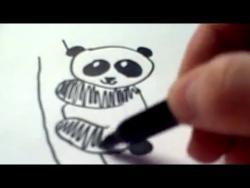 Как нарисовать панду ребенку видео урок