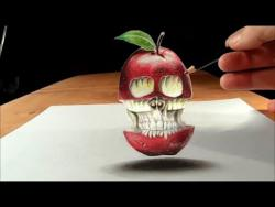 Как нарисовать парящее яблоко в виде черепа в 3D видео урок
