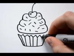 Как нарисовать пирожное ребенку видео урок  v2