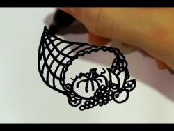 Как нарисовать рог изобилия ребенку маркером на бумаге видео урок