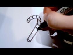 Как нарисовать рождественскую конфету ребенку видео урок