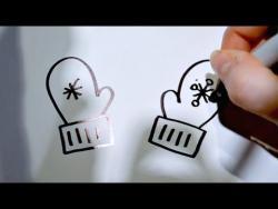 Как нарисовать рукавички ребенку видео урок